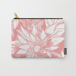 Modern coral white hand drawn floral illustration Carry-All Pouch