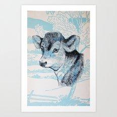 Calf in the Pasture Art Print