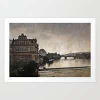 prague Art Prints featuring Prague by ALLY COXON