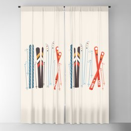 Retro Ski Illustration Blackout Curtain