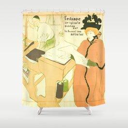 """Henri de Toulouse-Lautrec """"Couverture de l'estampe originale"""" Shower Curtain"""
