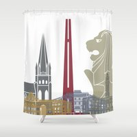 singapore Shower Curtains featuring Singapore skyline poster by Paulrommer