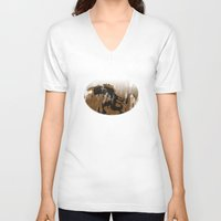 oil V-neck T-shirts featuring oil monster by ErDavid