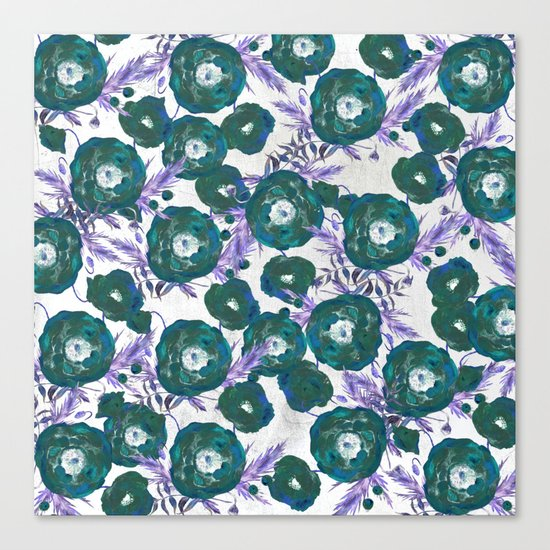 Abstract Poppy Pattern Green Canvas Print