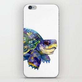 Turtle children artwork illustration blue purple teal animal art iPhone Skin