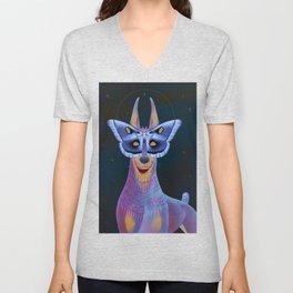 Them There Eyes - Doberman with moth Unisex V-Neck