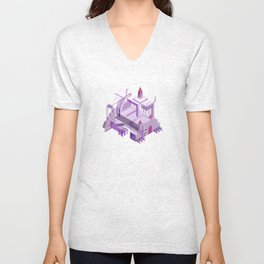 Den of the Headless Lion in Purple and Lavender Unisex V-Neck