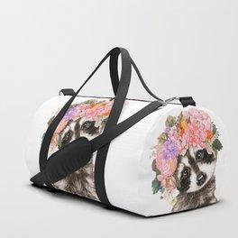 Baby Raccoon with Flowers Crown Duffle Bag