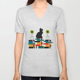 Cat, books and flowers Unisex V-Neck