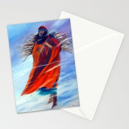 Native American Woman Female Figure Winter Scene Working Snowing Snow Beautiful Powerful Strong  Stationery Cards