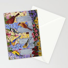 Spring Garden Party Birds and Flowers Stationery Cards