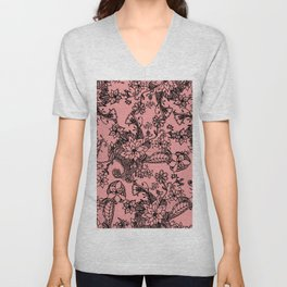Modern hand painted coral black watercolor floral Unisex V-Neck