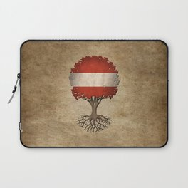 Vintage Tree of Life with Flag of Austria Laptop Sleeve