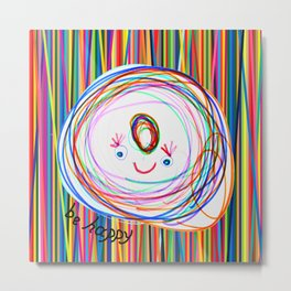Be Happy | Smile | Stay Child | Kids Painting Metal Print