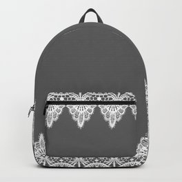 White Vintage Lace Gray Background Backpack