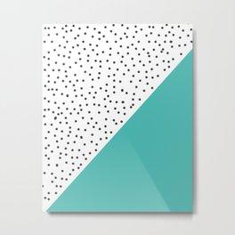 Geometric grey and turquoise design Metal Print