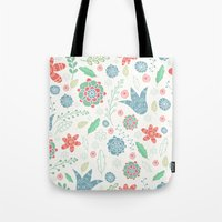 floral pattern Tote Bags featuring Floral pattern by Julia Badeeva