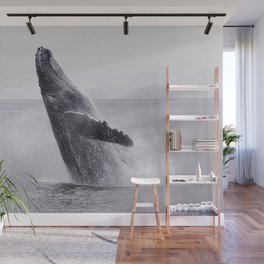 Lovely humpback whale is dancing in the ocean floor Wall Mural