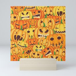 Halloween pumpkins pattern Mini Art Print