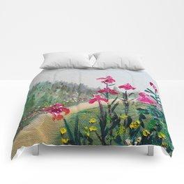 Magenta Plum Bearded Iris Waltz Comforters