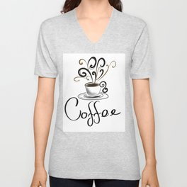 Coffee Cup With Flourish Steam Unisex V-Neck