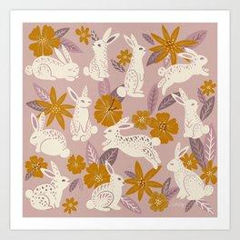 Bunnies & Blooms – Mauve & Ochre Palette Art Print