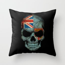 Dark Skull with Flag of Fiji Throw Pillow