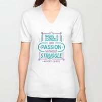 camus V-neck T-shirts featuring Camus on Passion by Josh LaFayette