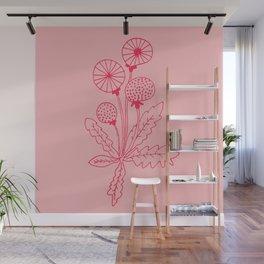 Dandelion Pink Wall Mural
