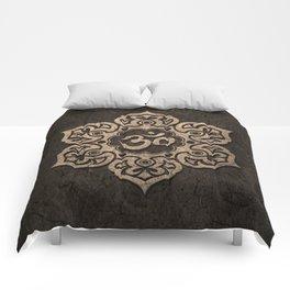 Aged Stone Lotus Flower Yoga Om Comforters