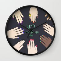 nail polish Wall Clocks featuring Let's put nail polish on by uzualsunday