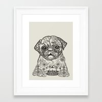 persian Framed Art Prints featuring Persian Pug by Huebucket
