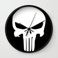 punisher Wall Clocks featuring The Punisher by sokteulu
