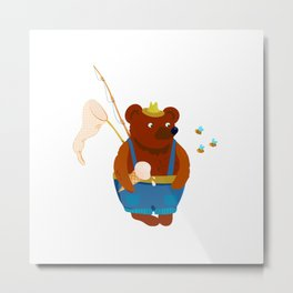 Bear summer resident with a fishing rod, ice cream and a landing net. Looks at the bees. Metal Print