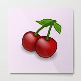 Cherries, Leaves, Stems, Fruits - Red Green Metal Print