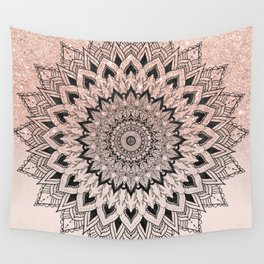 Boho black watercolor floral mandala rose gold glitter ombre pastel blush pink Wall Tapestry