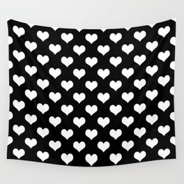 Black And White Hearts Minimalist Wall Tapestry