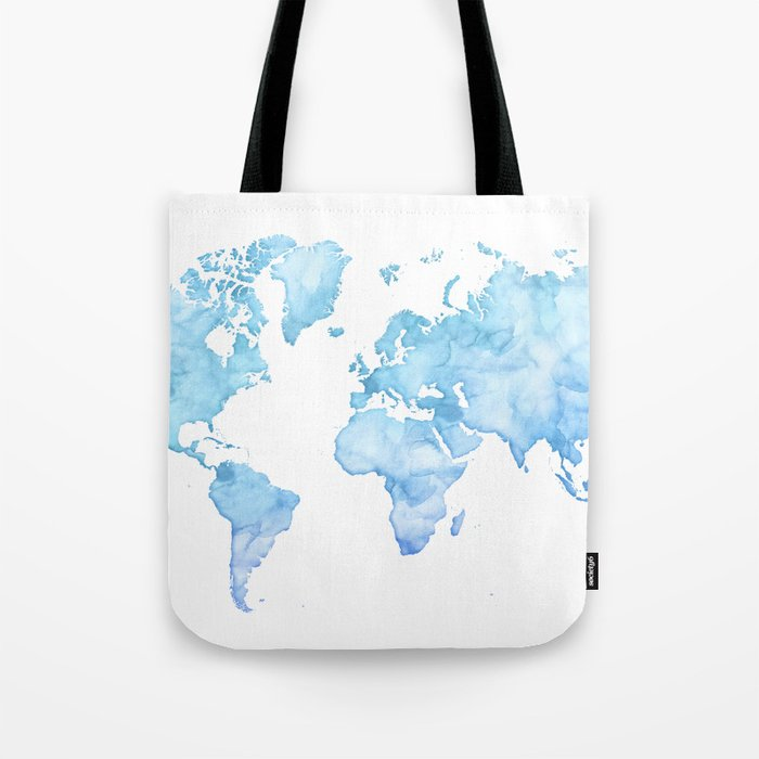 Light blue watercolor world map Tote Bag