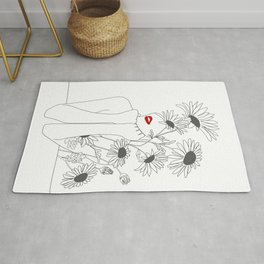Minimal Line Art Girl with Sunflowers Rug