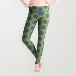 LIMON - grey & bright sea green polka-dots on chartreuse Leggings