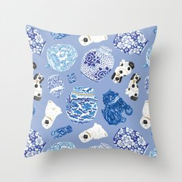 Chinoiserie Curiosity Cabinet Toss 7 Throw Pillow