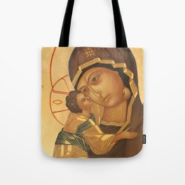 Orthodox Icon of Virgin Mary and Baby Jesus Tote Bag
