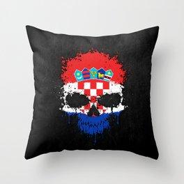 Flag of Croatia on a Chaotic Splatter Skull Throw Pillow