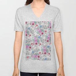 Cute watercolor hand paint floral pattern Unisex V-Neck