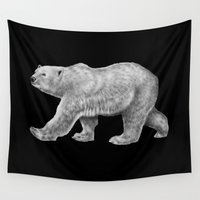 polar bear Wall Tapestries featuring Polar Bear by Tim Jeffs Art
