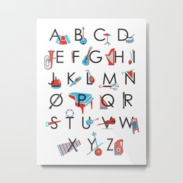 Musical Instrument Alphabet Poster Metal Print