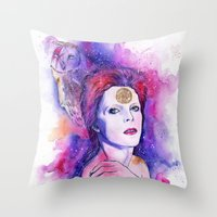 bowie Throw Pillows featuring Bowie by Kinko-White