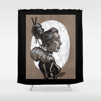 victorian Shower Curtains featuring Victorian Profile_2 by David Miley