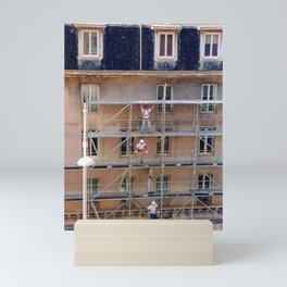 Men On Scaffolding Mini Art Print