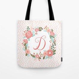 Monogram D - cute girls coral florals flower wreath, coral florals, baby girl, baby blanket Tote Bag